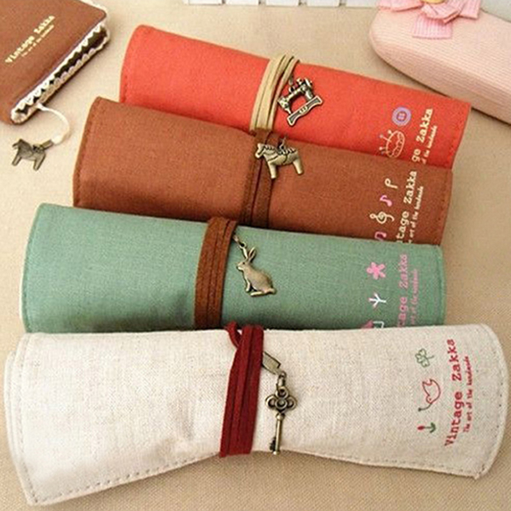 Canvas Bag Holder Wrap Roll Up Stationery Pen Brushes Pencil